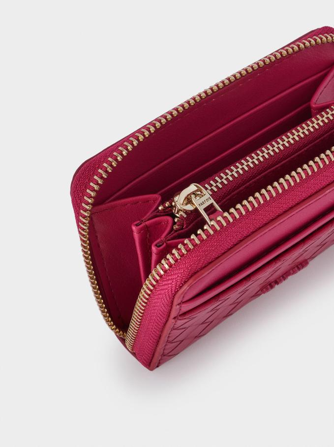 Compact Woven Wallet, Pink, hi-res