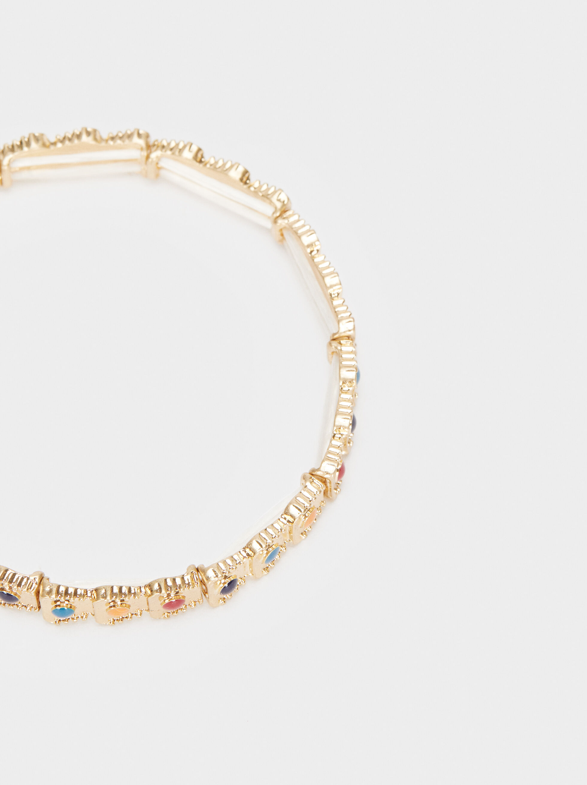 Gold Elasticated Bracelet, Multicolor, hi-res