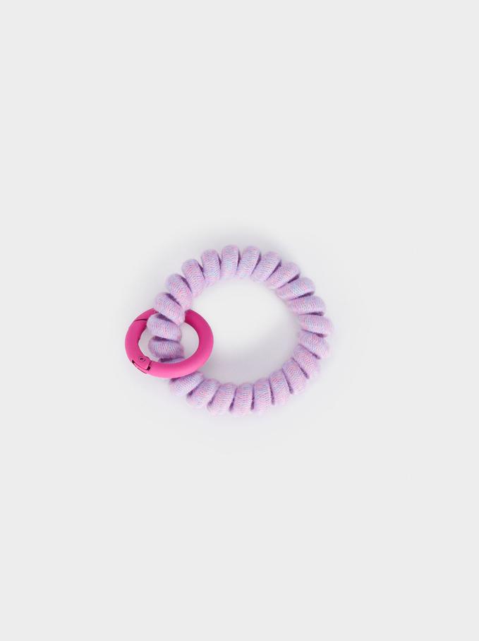 Llavero Con Espiral De Goma, Rosa, hi-res