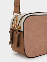 Shoulder Bag With Topstitching, Pink, hi-res