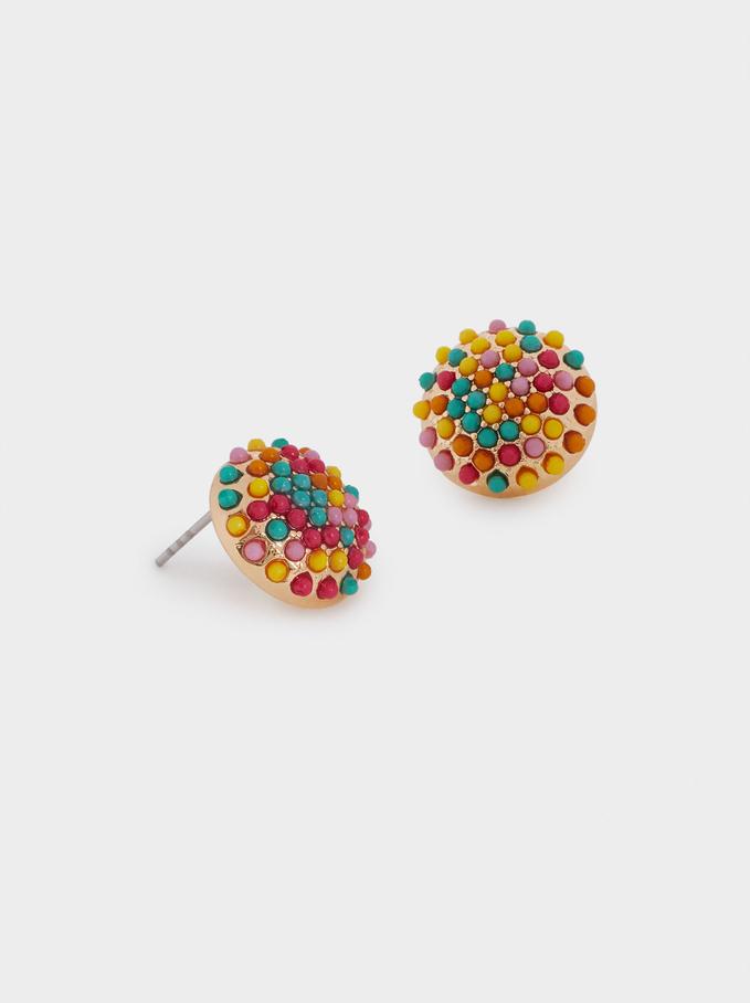 Boucles D'Oreilles Courtes Avec Perles Fantaisie, Multicolore, hi-res