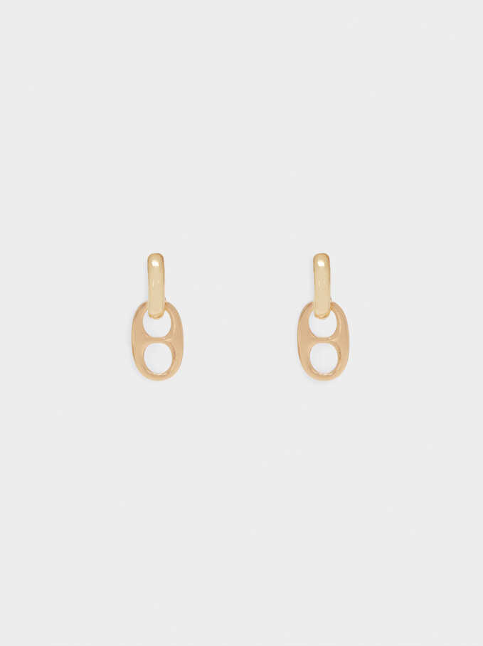 Hoop Earrings With Pendants, Golden, hi-res