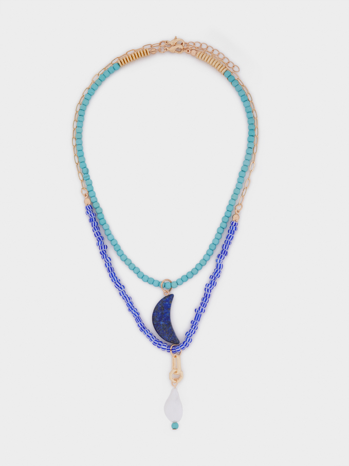 Set Of Contrasting Necklaces With Pendants, Blue, hi-res