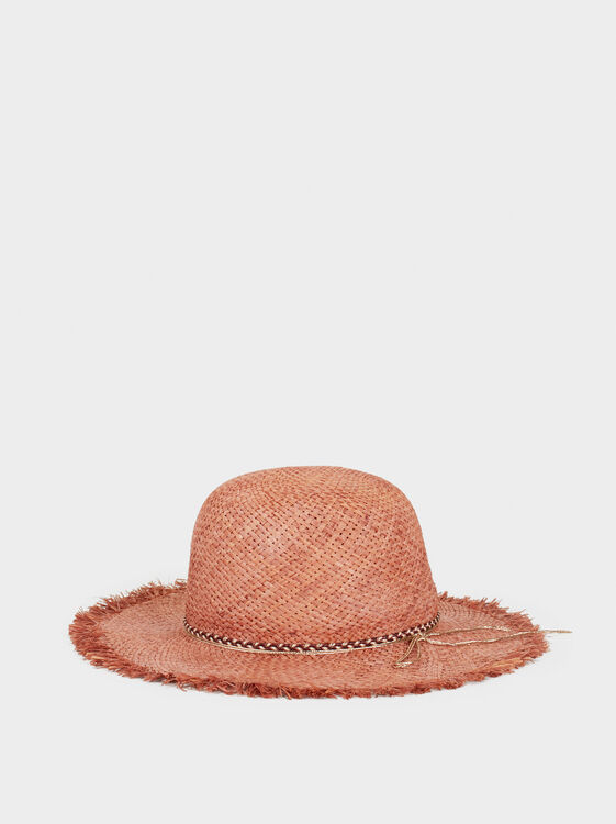 Faux Raffia Hat, Orange, hi-res