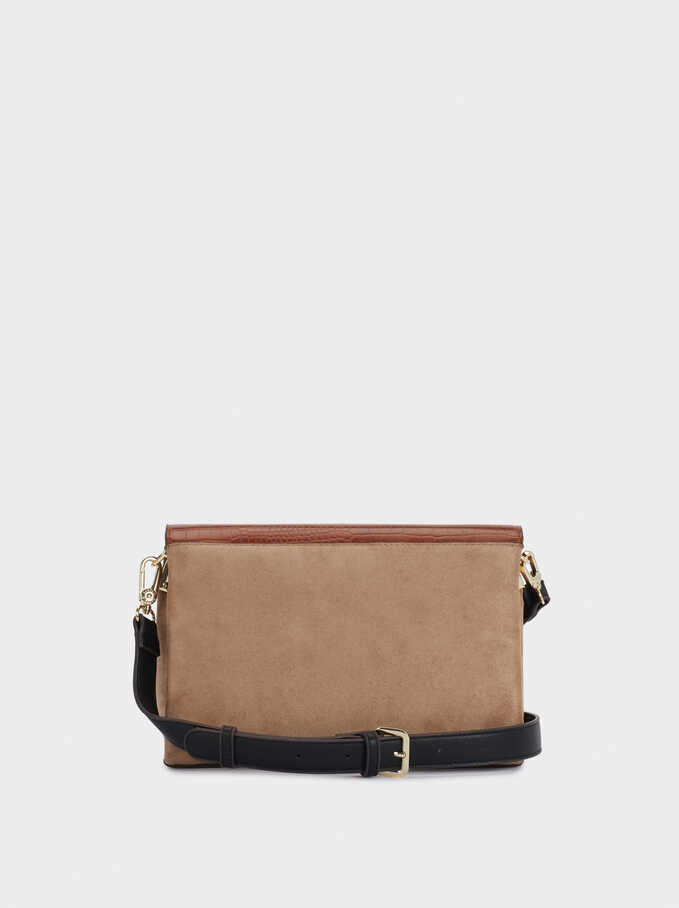 Leather Crossbody Bag With Patchwork Design, Beige, hi-res