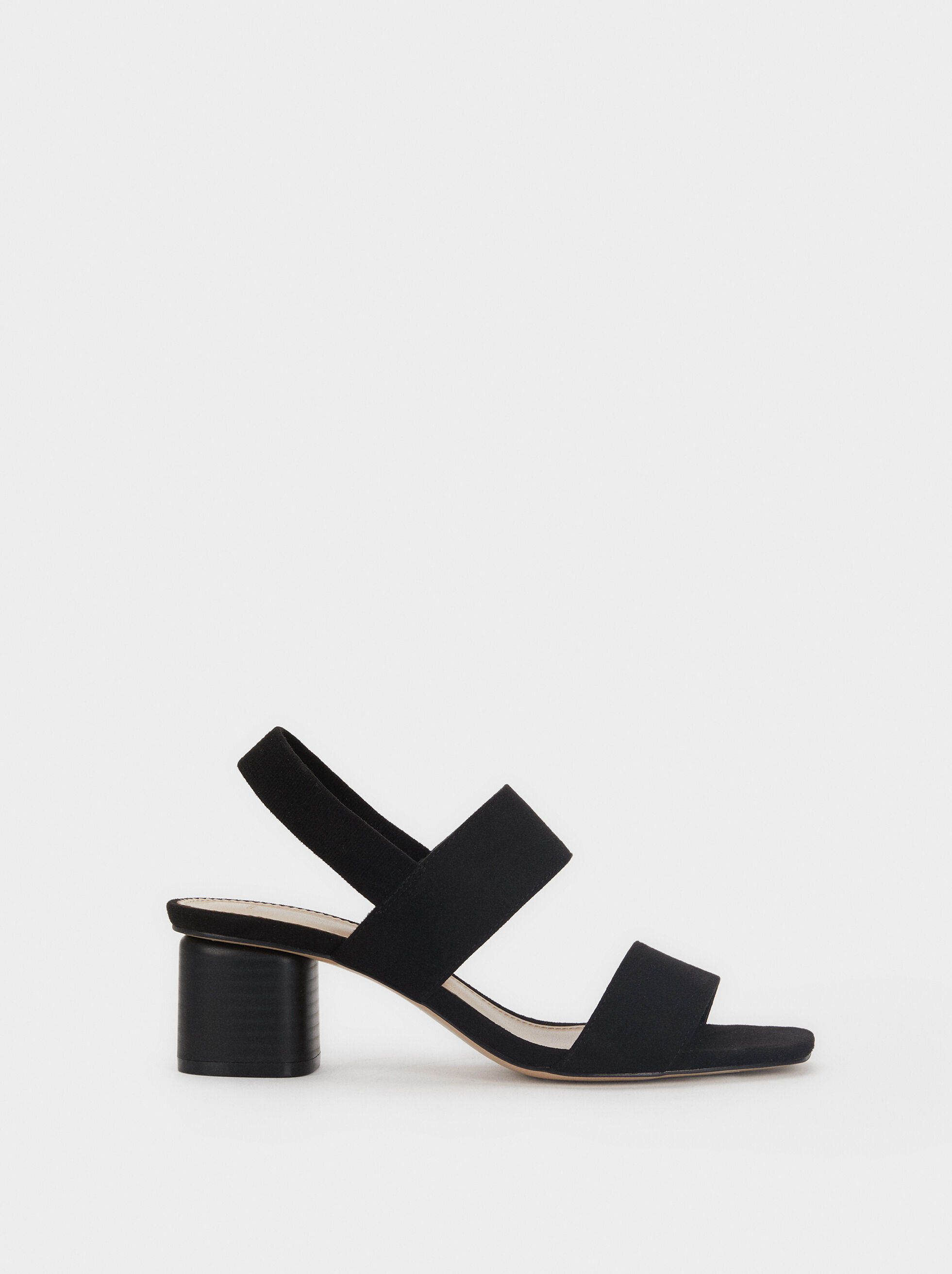 Mid-Heel Sandals With Elasticated Straps, , hi-res