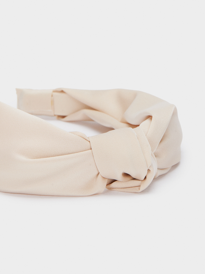 Wide Headband With Knot, Beige, hi-res