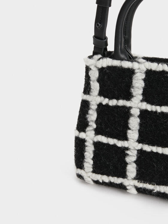 Contrast Checked Print Crossbody Bag, Black, hi-res