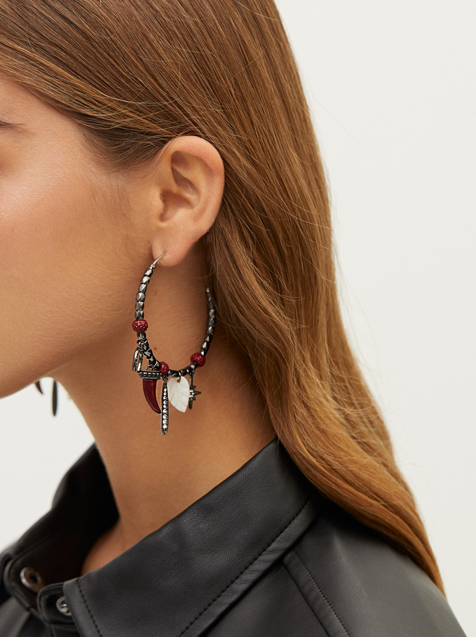 Large Hoop Earrings With Multicoloured Charms And Crystals, Bordeaux, hi-res
