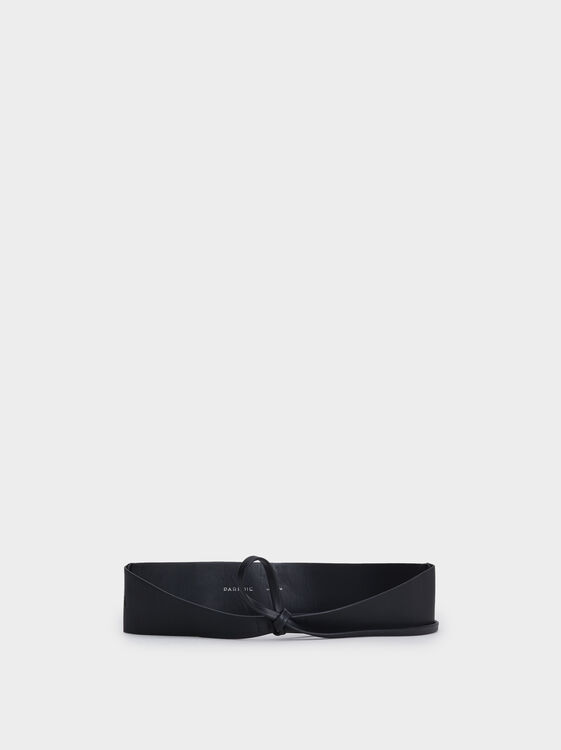 Leather Texture Long Belt, Black, hi-res