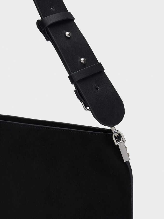 Faux Suede Shoulder Bag With Detachable Shoulder Strap, Black, hi-res
