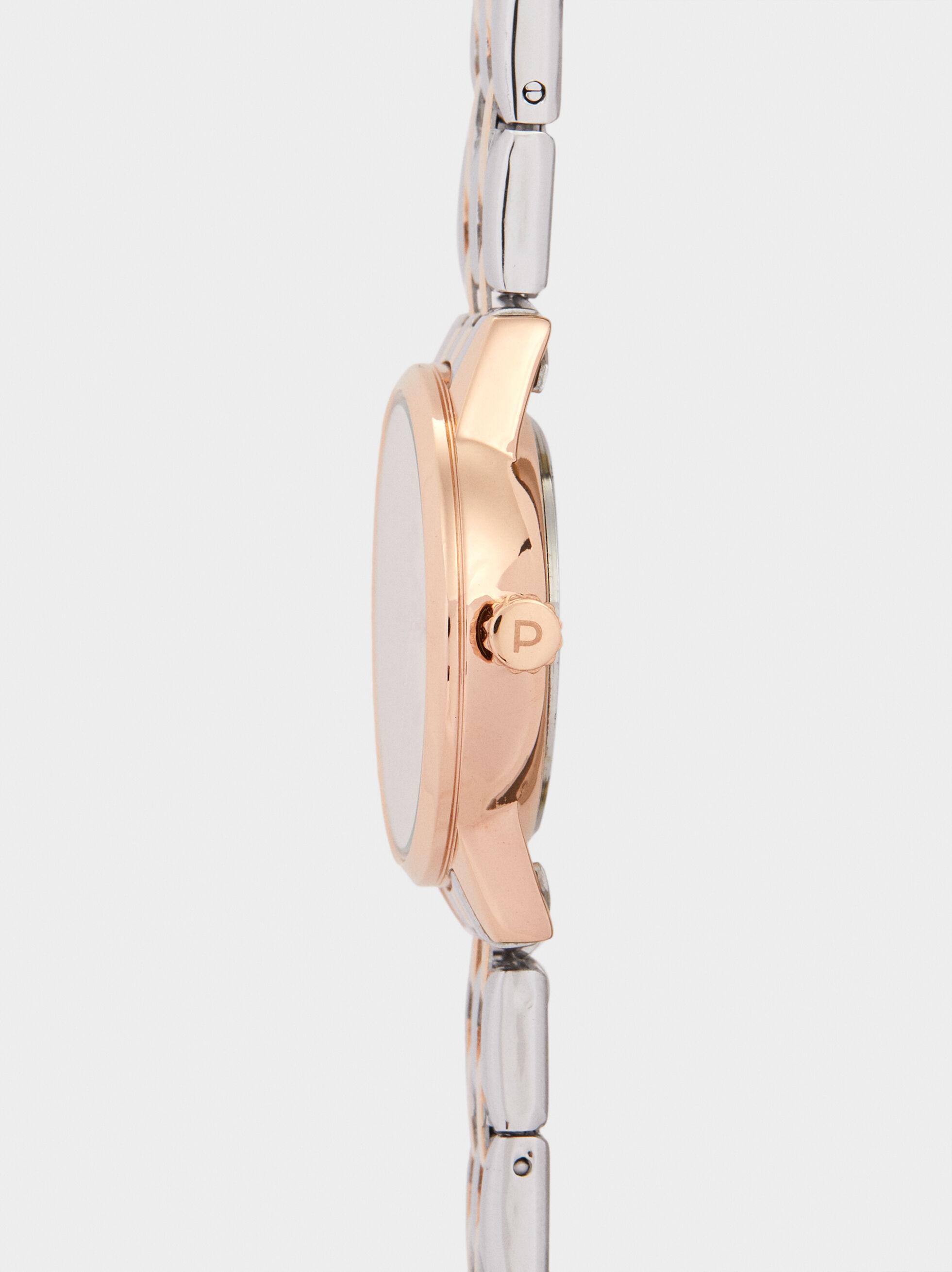 Relógio Com Correia De Aço , Laranja, hi-res