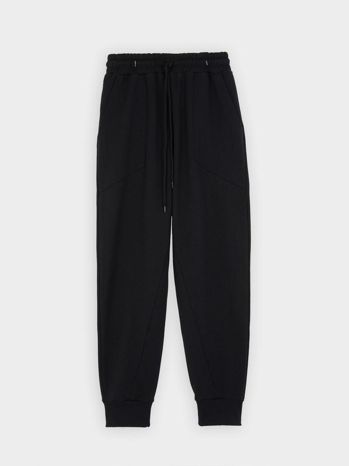 Pantalon Jogger Coton, Noir, hi-res