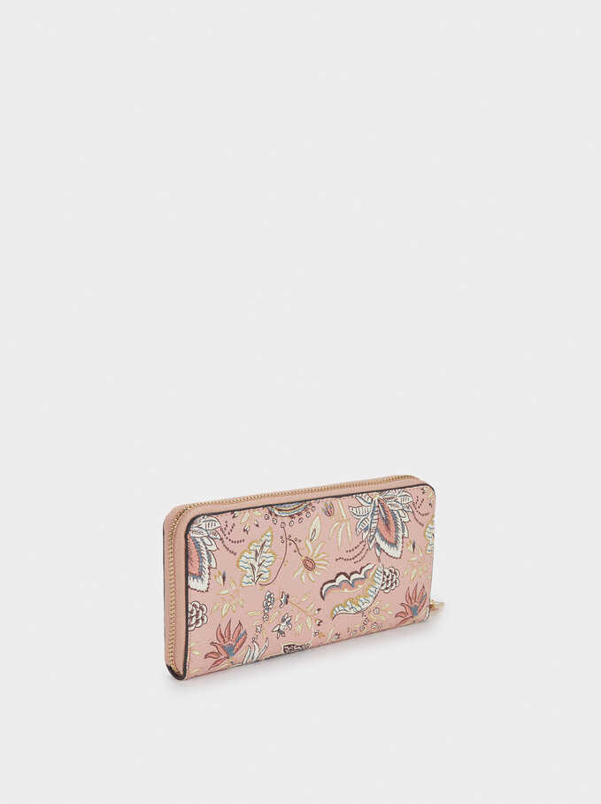 Floral Print Purse With Handle, Pink, hi-res