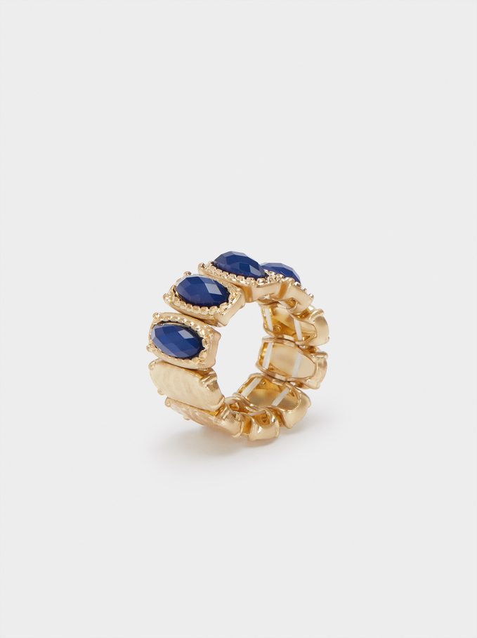 Ring With Stones , Blue, hi-res