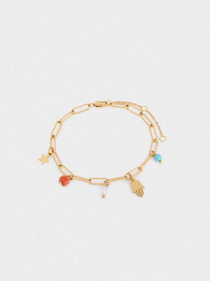 Bracelet En Acier Avec Charms, Multicolore, hi-res
