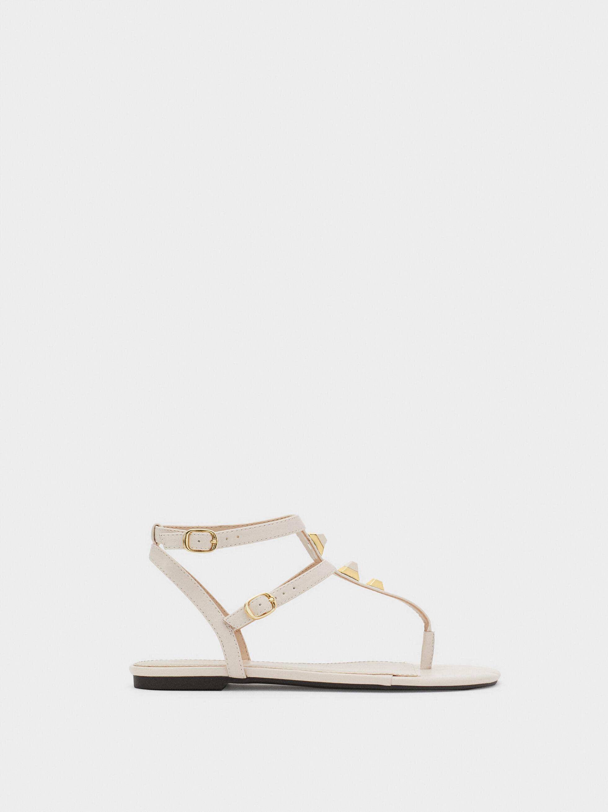 Flat Sandals With Metal Appliqués, White, hi-res