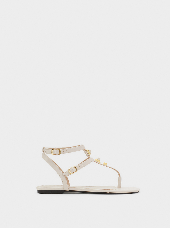 Flat Sandals With Metal Appliqués, White, hi-res