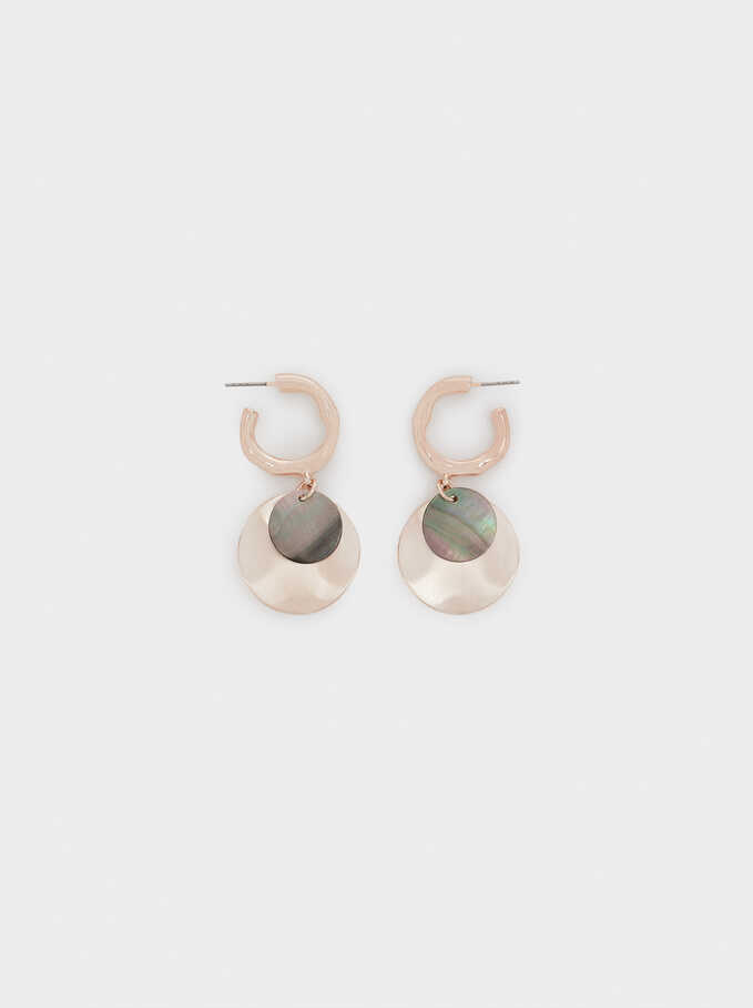 Medium Rose Gold Shell Earrings, Orange, hi-res