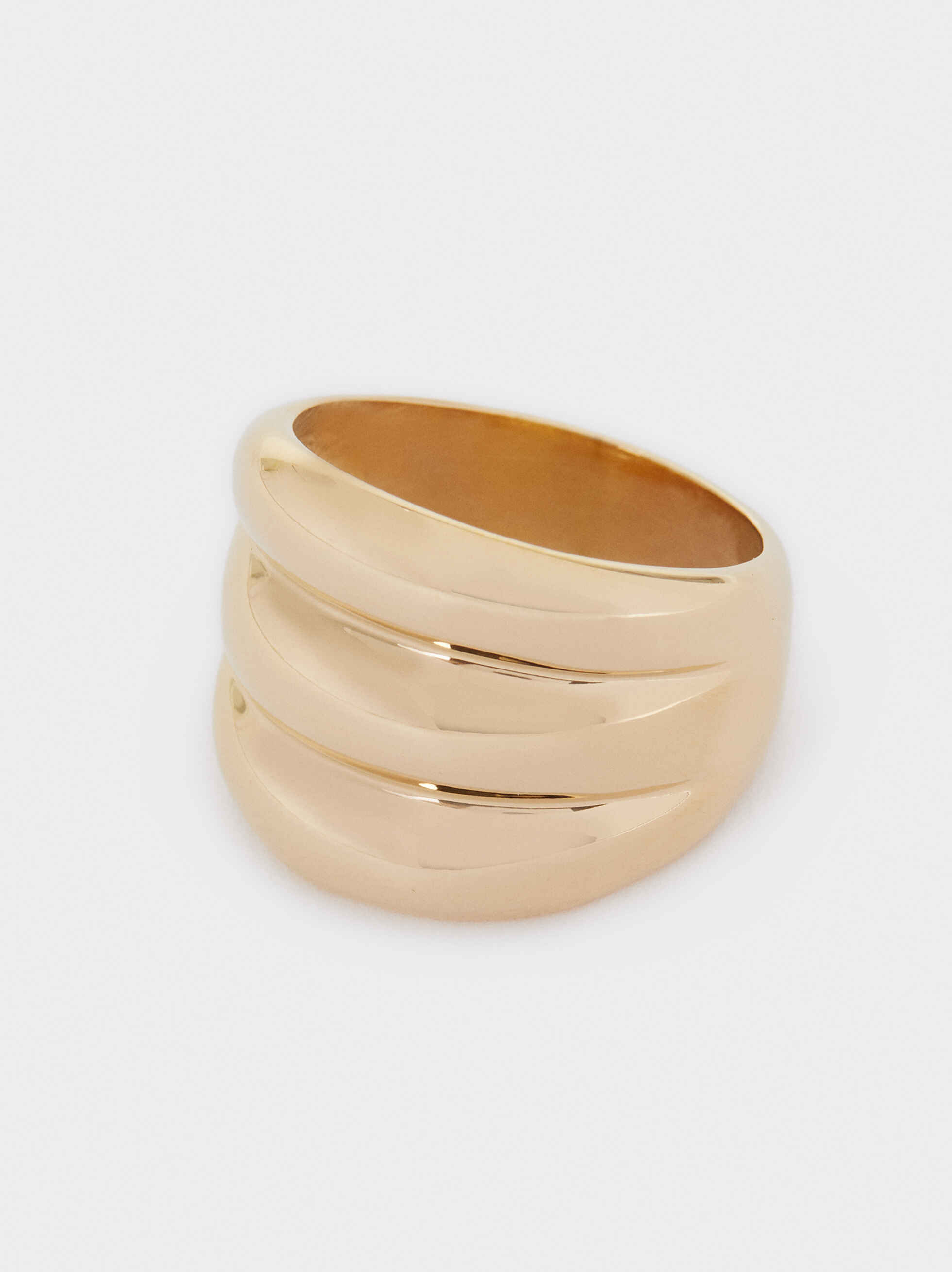 Three-Colour Stainless Steel Ring, Golden, hi-res