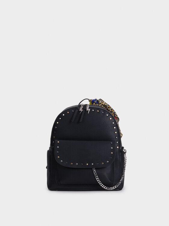 Backpack Handkerchief Detail, Black, hi-res