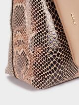 Embossed Animal Print Tote Bag, Beige, hi-res