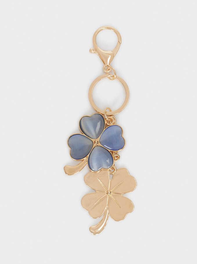 Llavero Flor Y Cristal Multicolor, Azul, hi-res