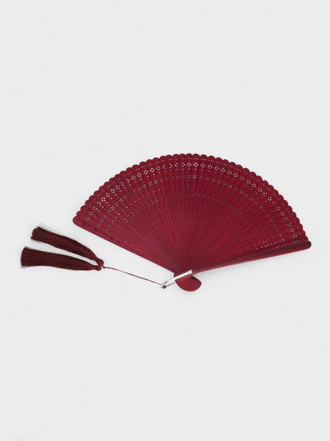 Fan With Tassels, Bordeaux, hi-res