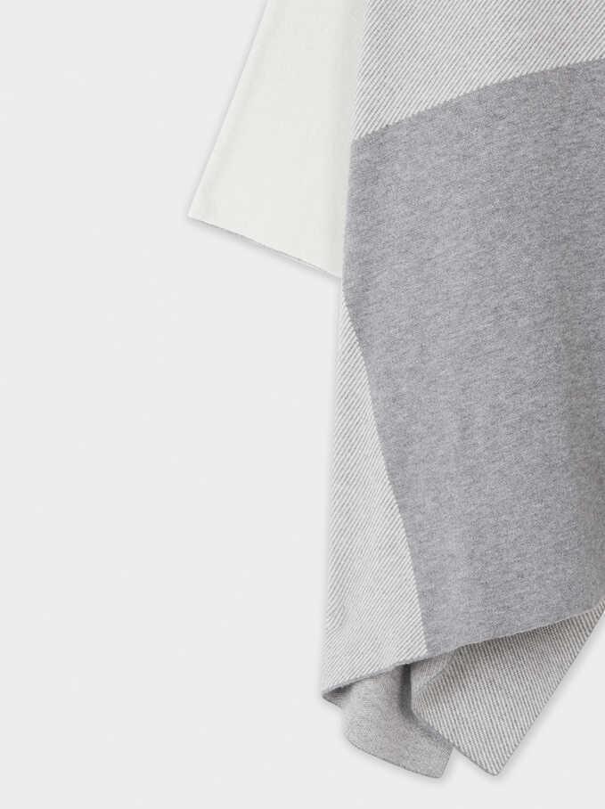 Printed Knit Poncho, Grey, hi-res
