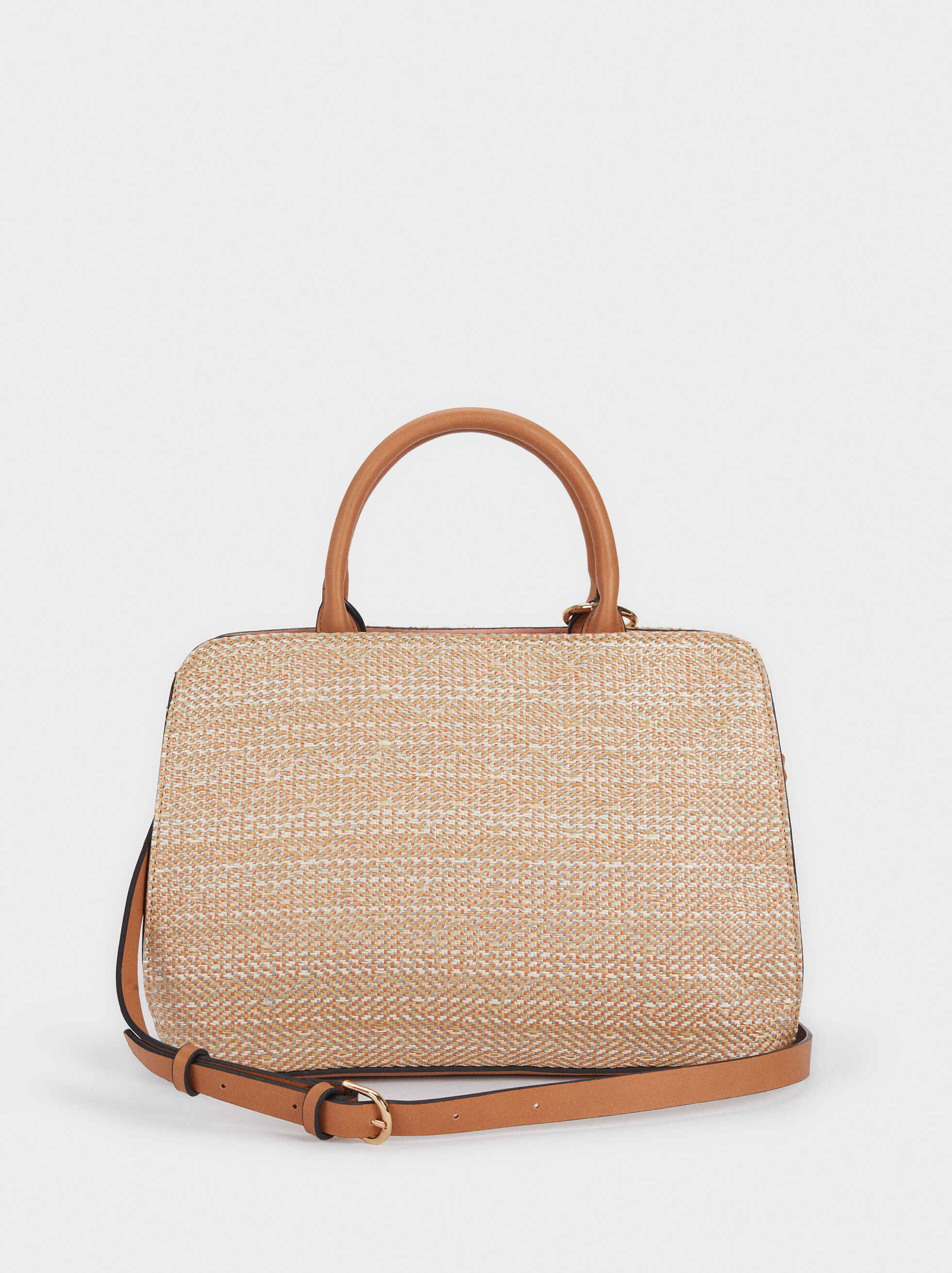 Raffia Textured Tote Bag, Pink, hi-res