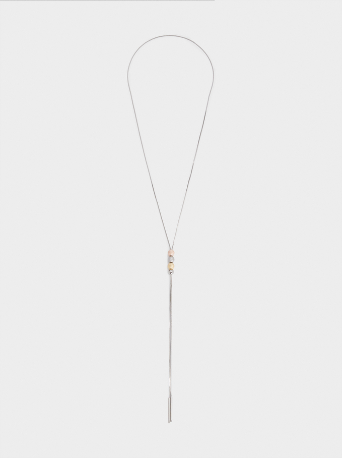 Collier Long Perles Fantaisie, Argent, hi-res