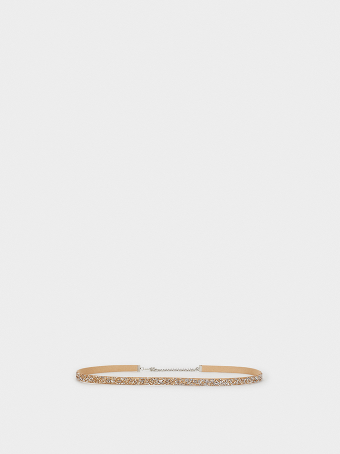Sequinned Party Belt, Silver, hi-res