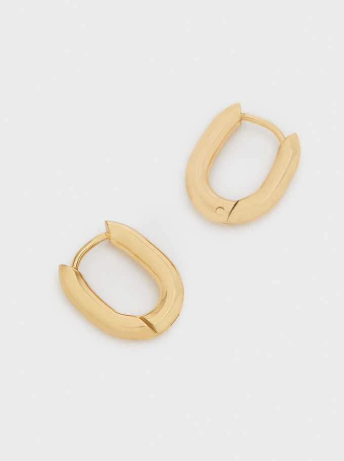 Gold Stainless Steel Small Hoop Earrings, Golden, hi-res