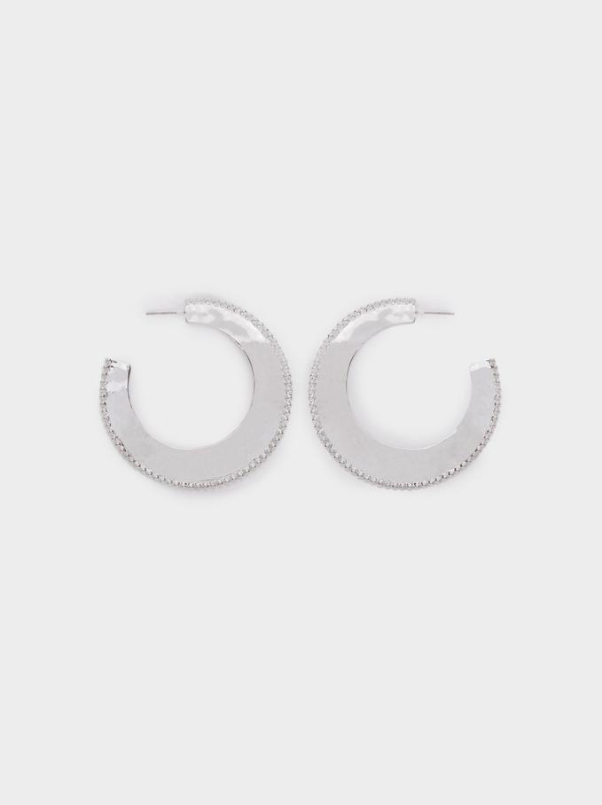 Large Silver-Toned Hoop Earrings, Silver, hi-res