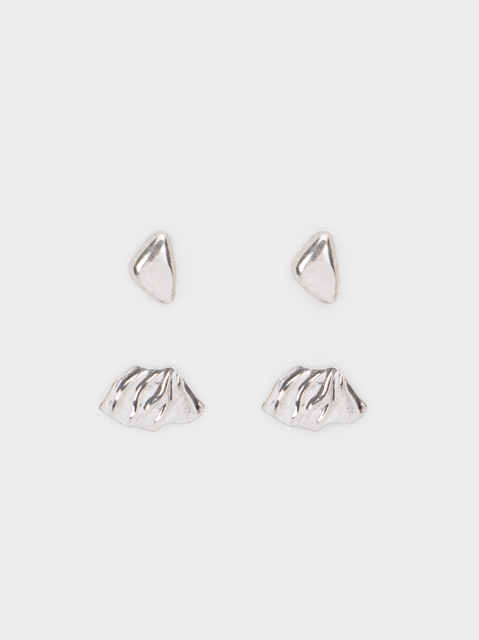 Set Of Silver Earrings, Silver, hi-res