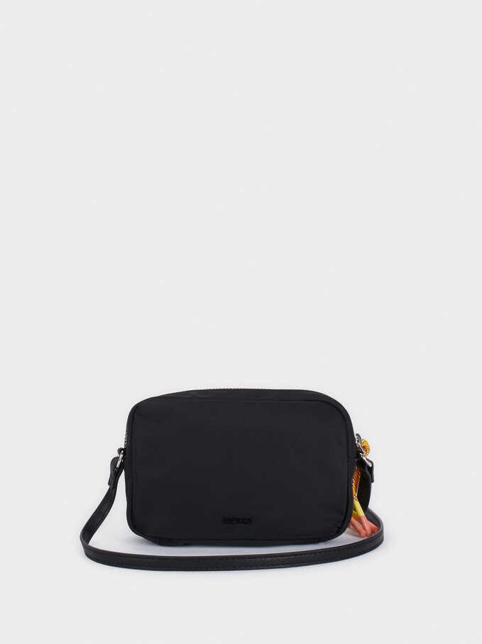 Nylon Crossbody Bag With Outer Pocket, Black, hi-res