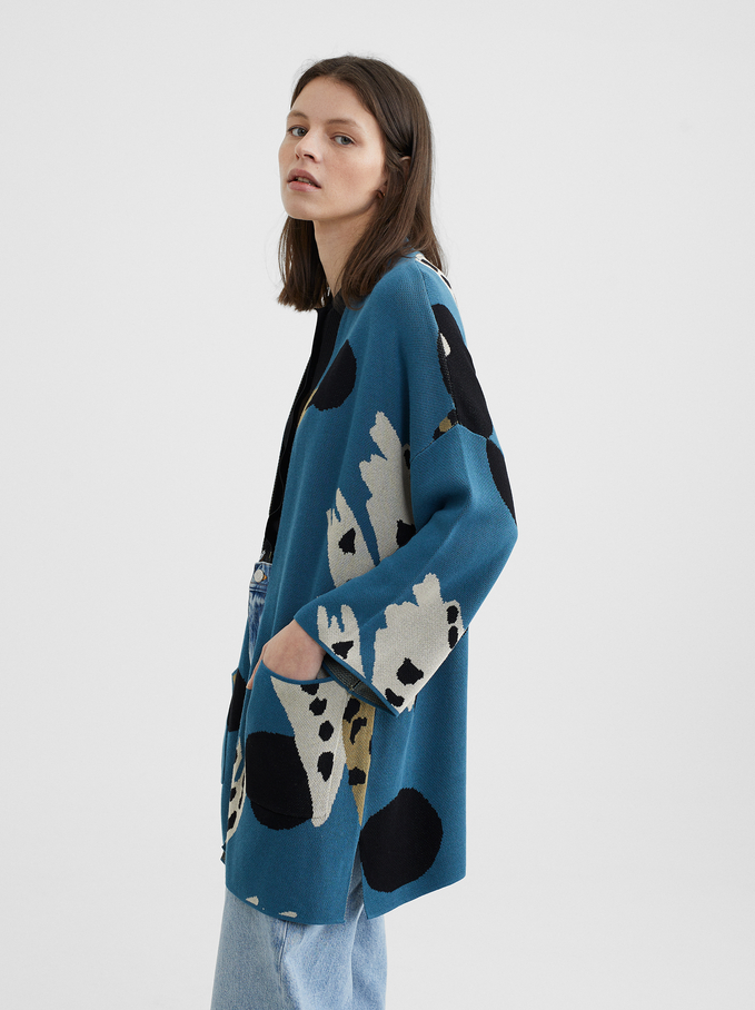 Printed Knitted Kimono, Blue, hi-res