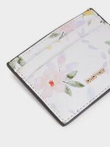 Floral Print Card Holder, White, hi-res