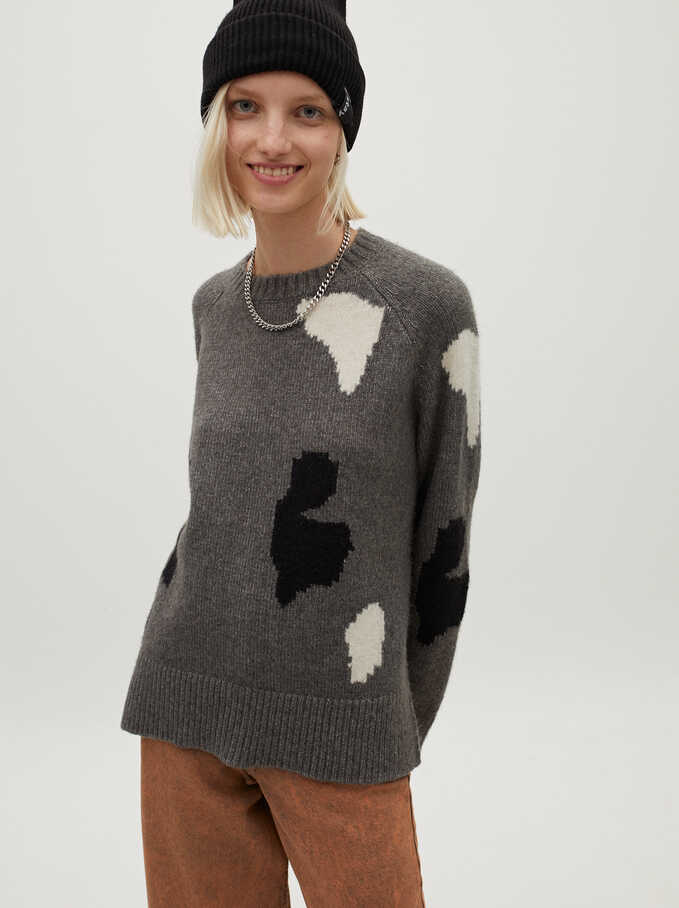 Knitted Round Neck Sweater With Print, Grey, hi-res