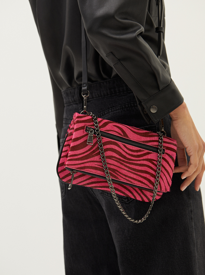 Leather Crossbody Bag With Animal Print, Pink, hi-res