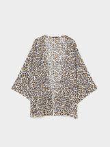 Animal Print Kimono, Brown, hi-res