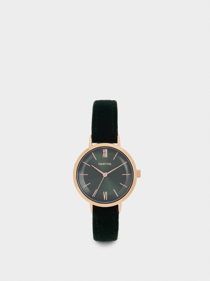 Watch With Contrasting Details, Green, hi-res