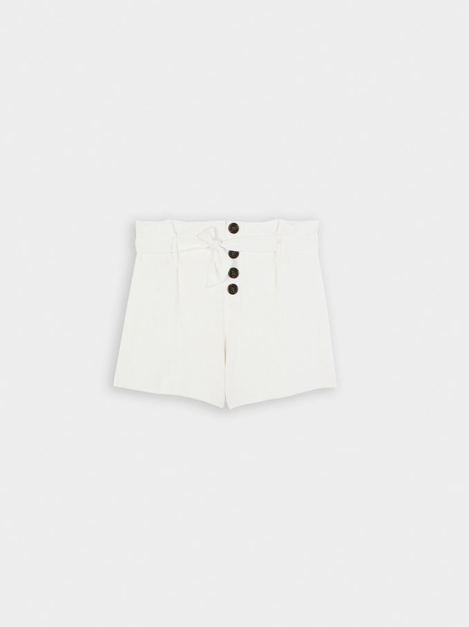 Knit Shorts With Bow And Buttons, White, hi-res