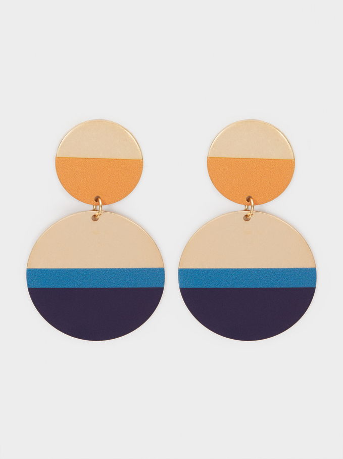 Long Gold Earrings, Multicolor, hi-res