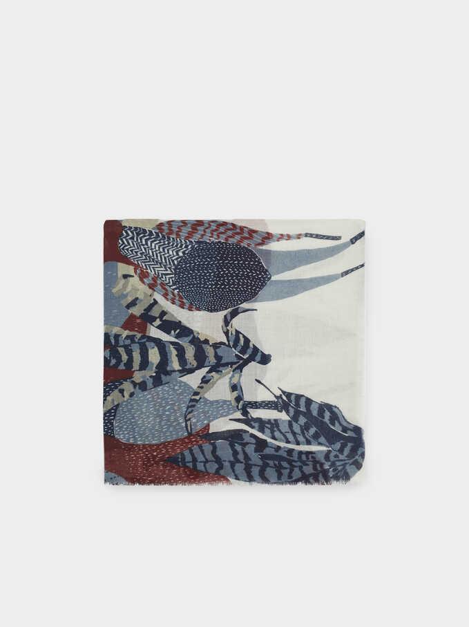 Llama-Print Scarf, Blue, hi-res
