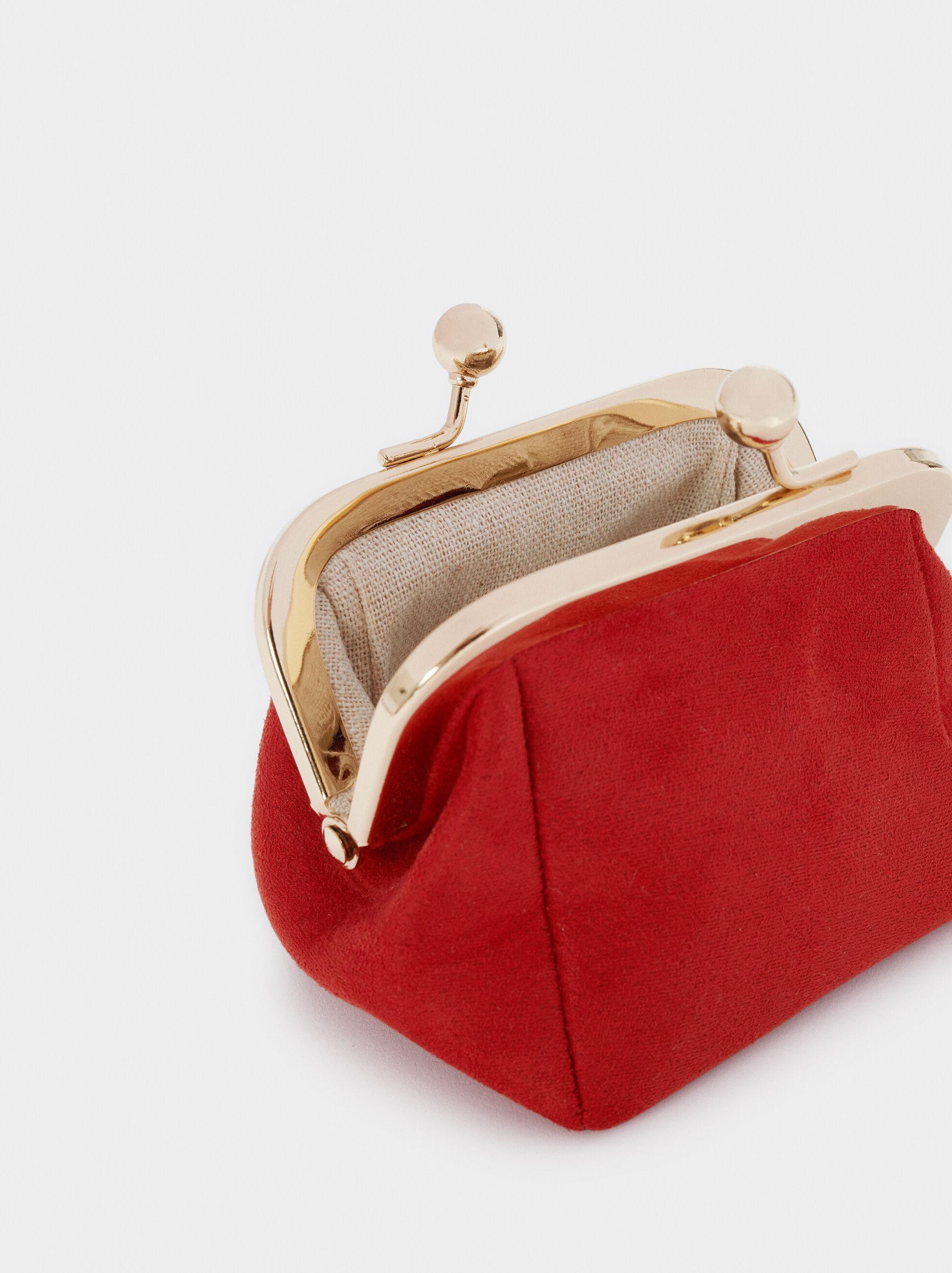 Textured Suede Purse, Brick Red, hi-res