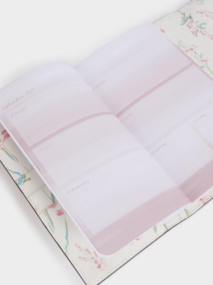Floral Print Notebook, Ecru, hi-res