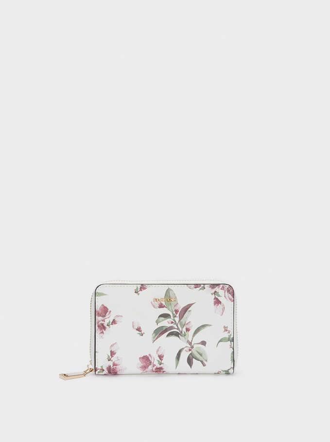 Cartera Compacta Estampado Floral, Crudo, hi-res