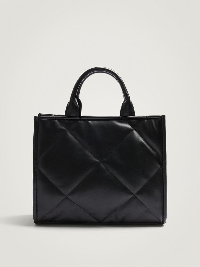 Quilted Shoulder Bag With Shoulder Strap, Black, hi-res