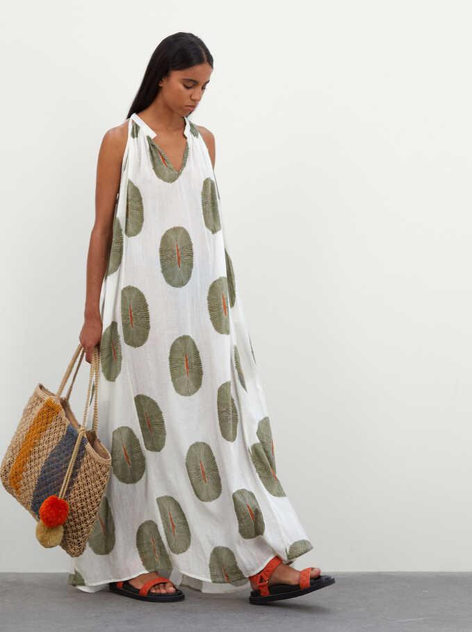 100% Cotton Long Printed Dress, Ecru, hi-res